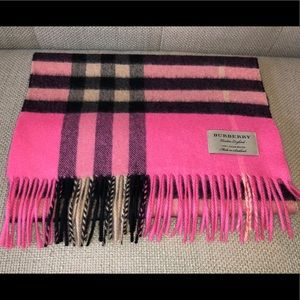 Burberry Giant Icon Check Cashmere Scarf Pink Rose